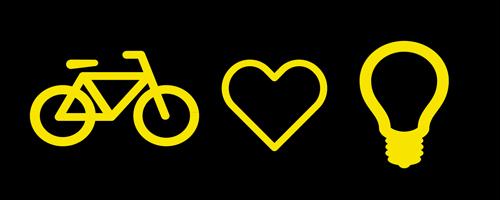 logo met fiets, hartje en lampje