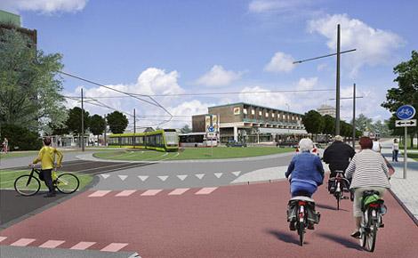 regiotram Groningen bij in Paddepoel