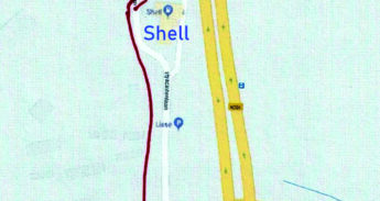 Fietsoversteek om Shell station heen
