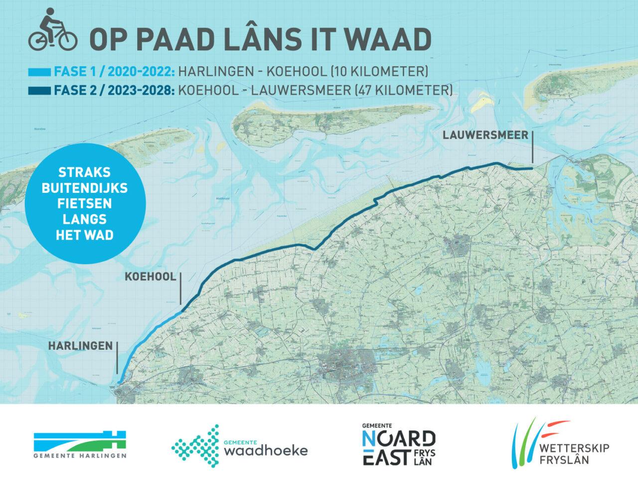 Kaart 'Op paad lâns it Waad'