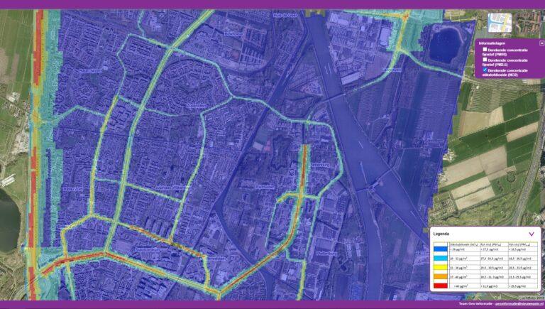 Kaartje luchtkwaliteit NO2 Nieuwegein Noordstedeweg
