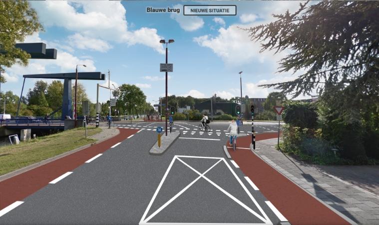 Impressie snelfietsroute Blauwe Brug. Hier is de opstelruimte voor fietsers onduidelijk en krijgen fietsers op de snelfietsroute geen voorrang