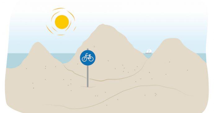 fietspad door duinen
