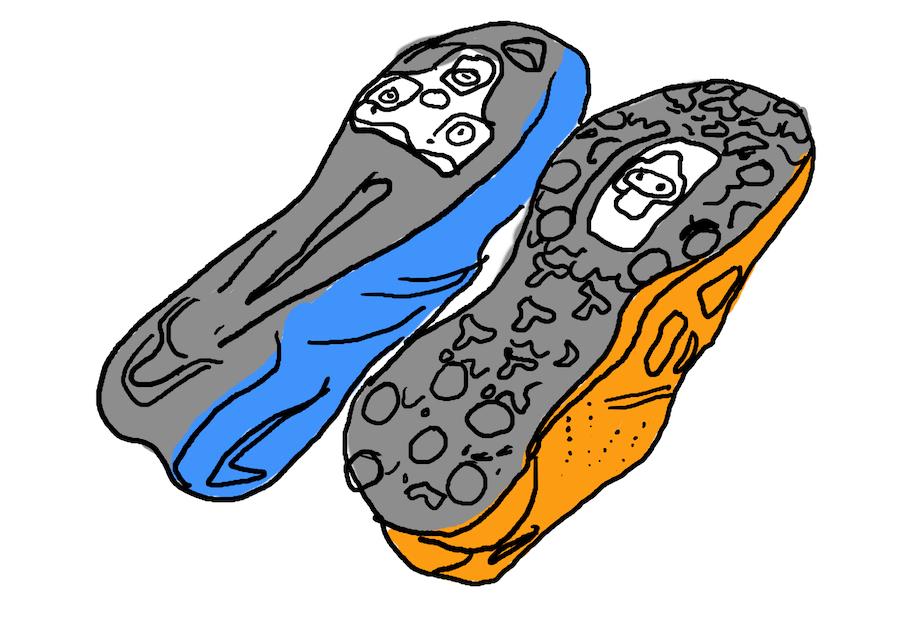racefietsschoen en MTB-schoen