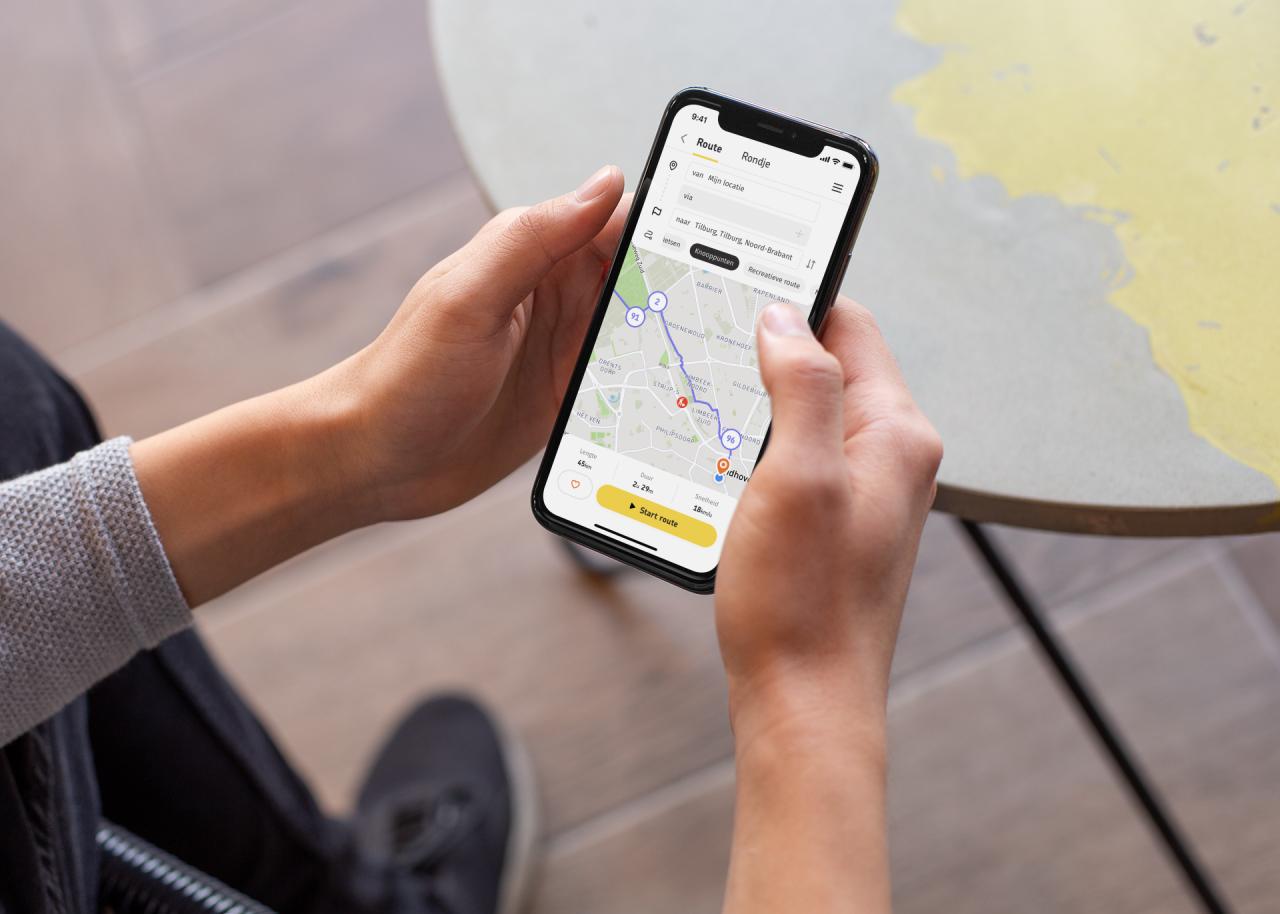 Routeplanner-app in hand 2