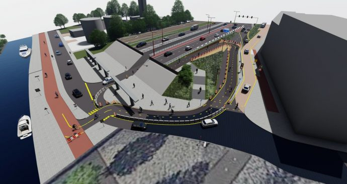 Artist impression omleidingsroute voor fietsers via Zuidstedeviaduct